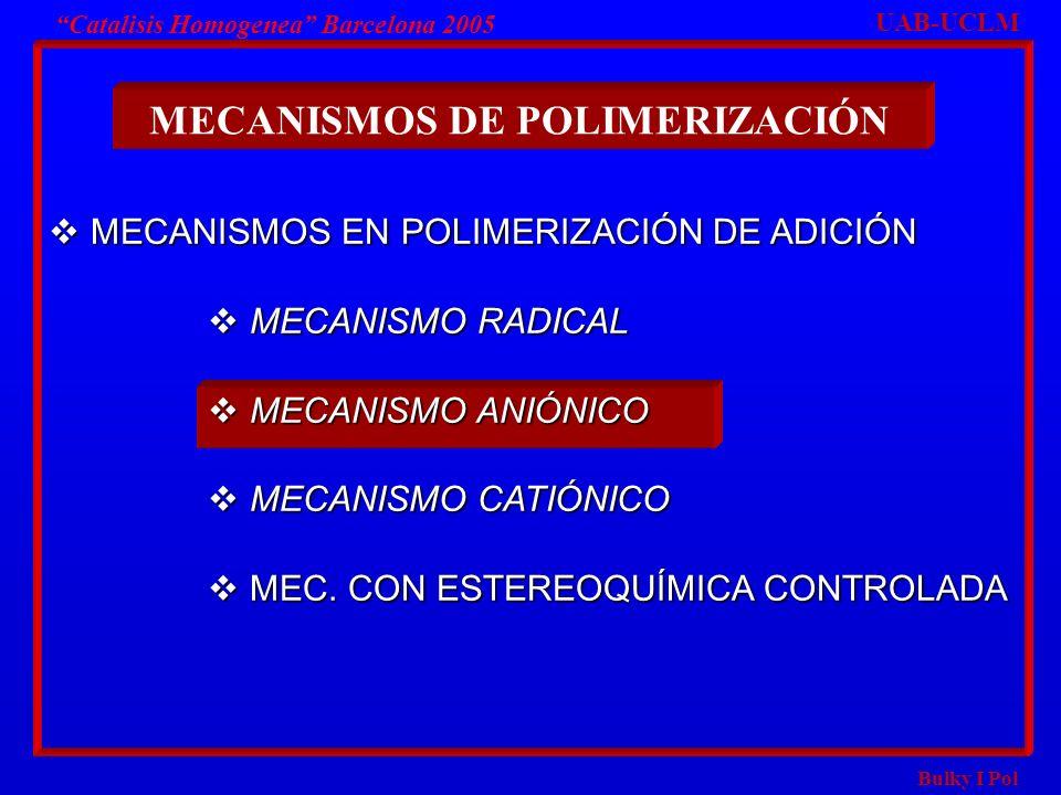 Bulky I Pol Catalisis Homogenea Barcelona 2005 MECANISMOS EN POLIMERIZACIÓN DE ADICIÓN MECANISMOS EN POLIMERIZACIÓN DE ADICIÓN MECANISMO RADICAL MECAN