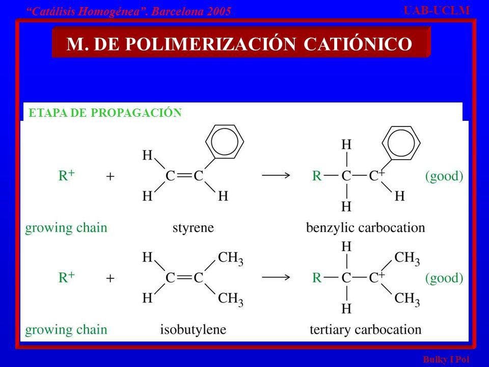 Bulky I Pol M. DE POLIMERIZACIÓN CATIÓNICO UAB-UCLM Catálisis Homogénea. Barcelona 2005 ETAPA DE PROPAGACIÓN