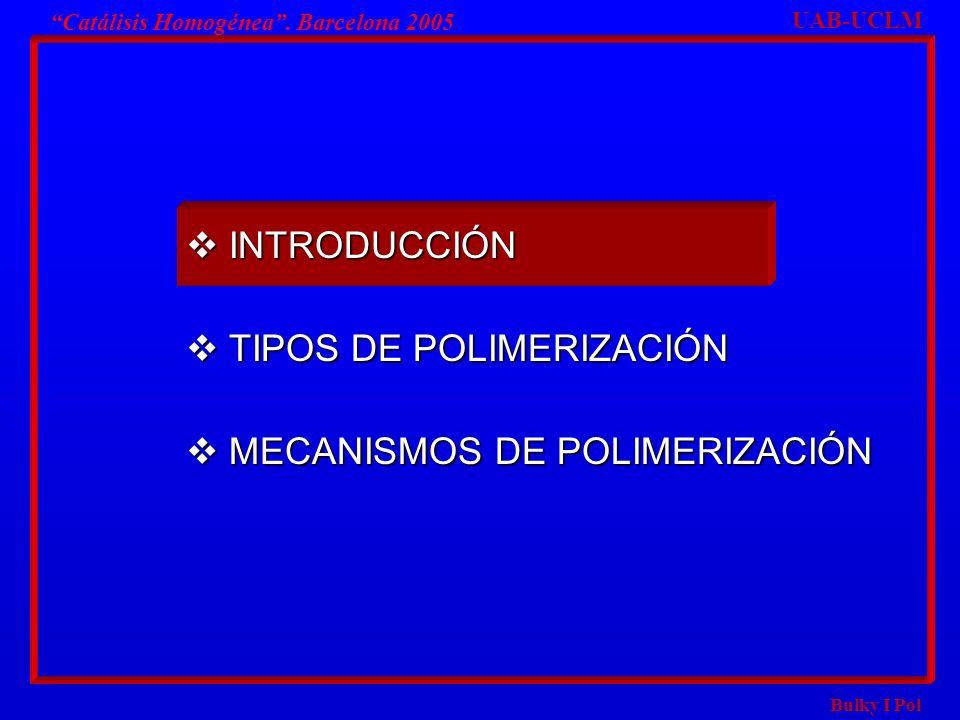 Bulky I Pol Catalisis Homogenea Barcelona 2005 MECANISMOS EN POLIMERIZACIÓN DE ADICIÓN MECANISMOS EN POLIMERIZACIÓN DE ADICIÓN MECANISMO RADICAL MECANISMO RADICAL MECANISMO ANIÓNICO MECANISMO ANIÓNICO MECANISMO CATIÓNICO MECANISMO CATIÓNICO MEC.