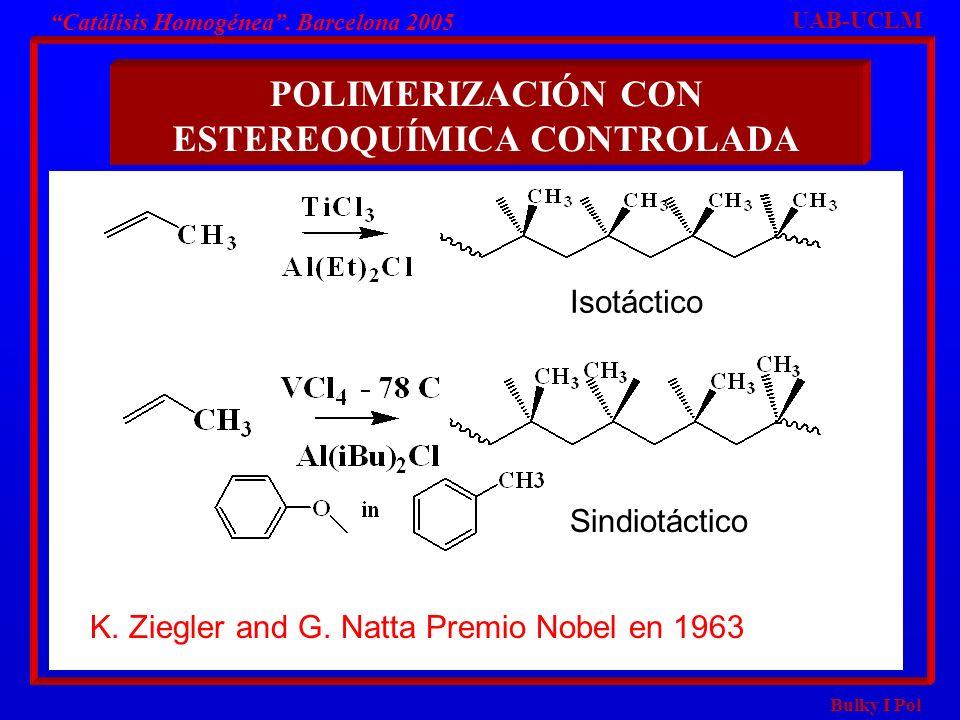 Bulky I Pol POLIMERIZACIÓN CON ESTEREOQUÍMICA CONTROLADA UAB-UCLM Catálisis Homogénea. Barcelona 2005 Isotáctico Sindiotáctico K. Ziegler and G. Natta