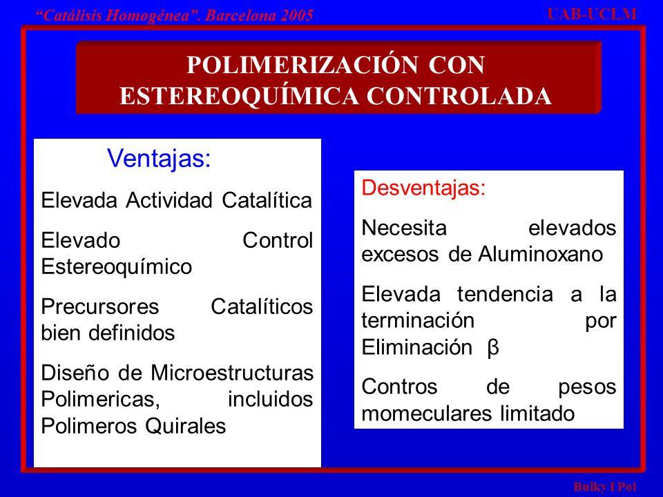 Bulky I Pol POLIMERIZACIÓN CON ESTEREOQUÍMICA CONTROLADA UAB-UCLM Catálisis Homogénea. Barcelona 2005 Ventajas: Elevada Actividad Catalítica Elevado C