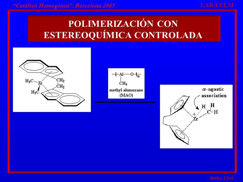 Bulky I Pol POLIMERIZACIÓN CON ESTEREOQUÍMICA CONTROLADA UAB-UCLM Catálisis Homogénea. Barcelona 2005