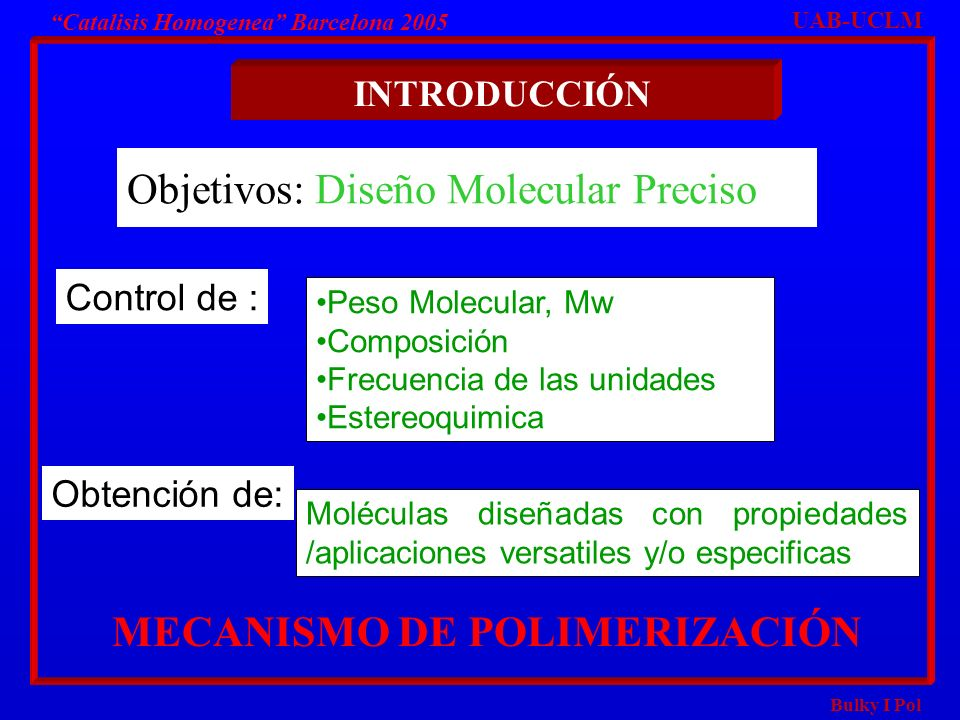 Bulky I Pol Catalisis Homogenea Barcelona 2005 INTRODUCCIÓN Objetivos: Diseño Molecular Preciso Peso Molecular, Mw Composición Frecuencia de las unida