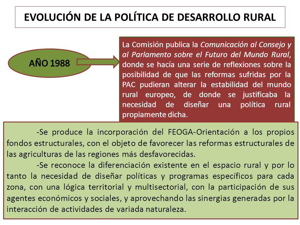 EVOLUCIÓN DE LA POLÍTICA DE DESARROLLO RURAL La Comisión publica la Comunicación al Consejo y al Parlamento sobre el Futuro del Mundo Rural, donde se