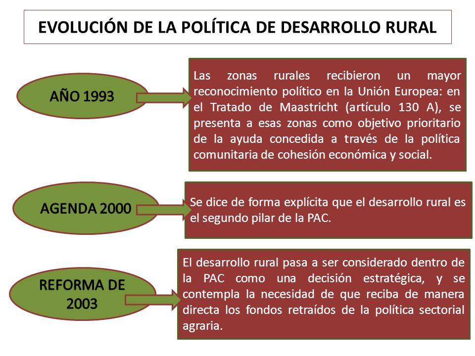 EVOLUCIÓN DE LA POLÍTICA DE DESARROLLO RURAL Las zonas rurales recibieron un mayor reconocimiento político en la Unión Europea: en el Tratado de Maast