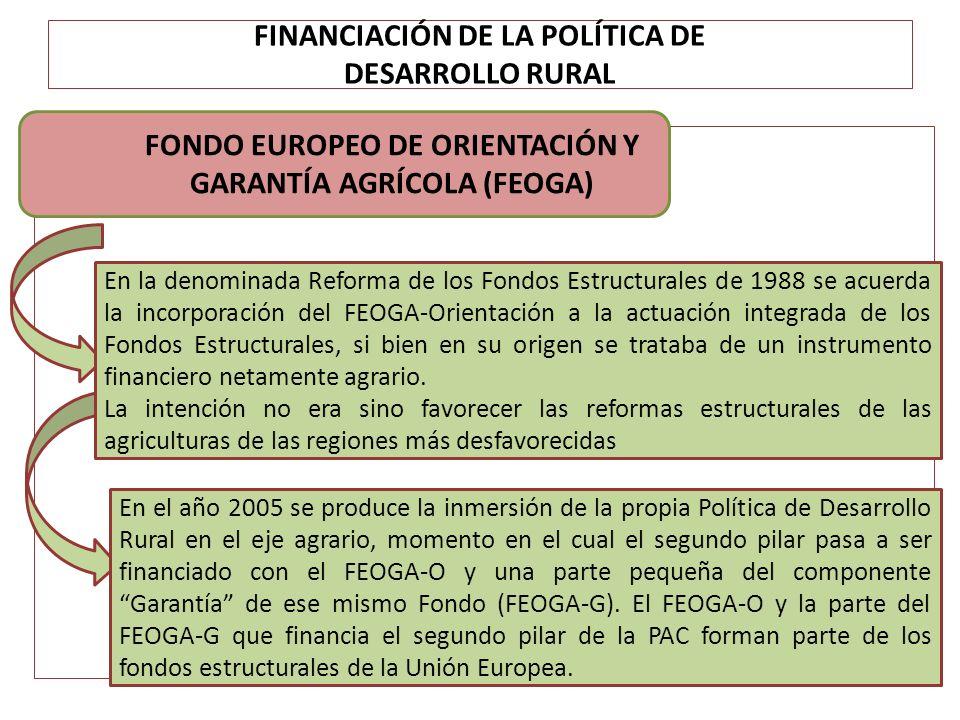 FINANCIACIÓN DE LA POLÍTICA DE DESARROLLO RURAL FONDO EUROPEO DE ORIENTACIÓN Y GARANTÍA AGRÍCOLA (FEOGA) En la denominada Reforma de los Fondos Estruc