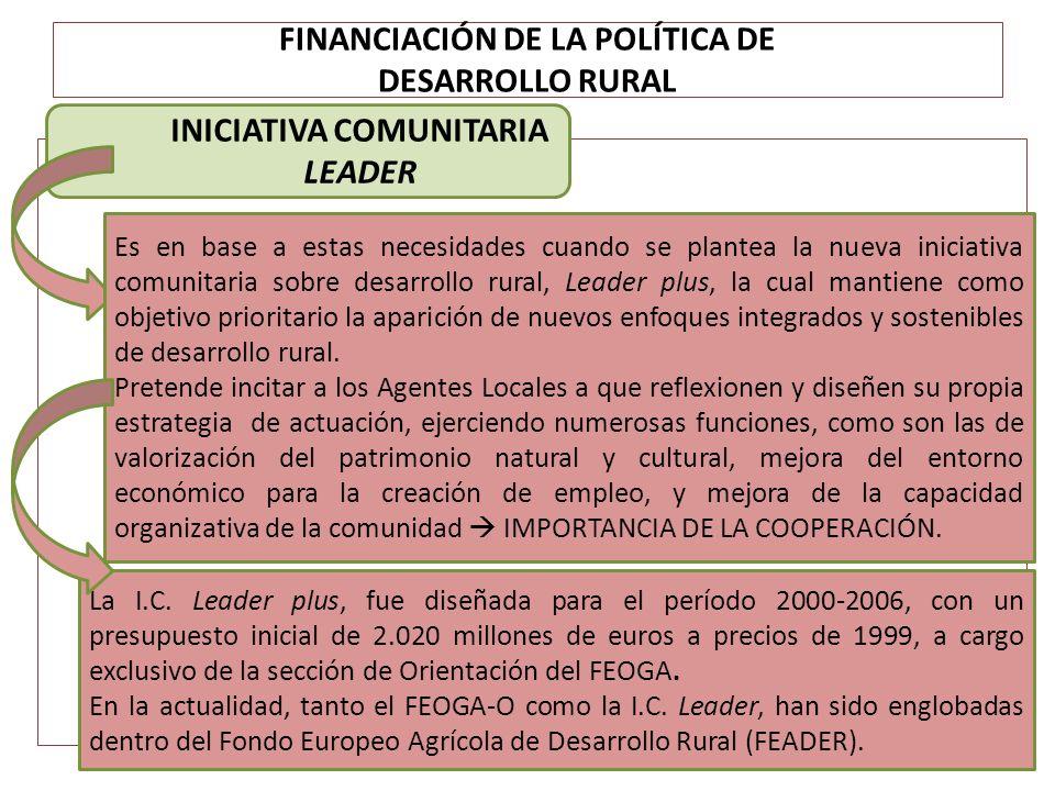 FINANCIACIÓN DE LA POLÍTICA DE DESARROLLO RURAL INICIATIVA COMUNITARIA LEADER Es en base a estas necesidades cuando se plantea la nueva iniciativa com