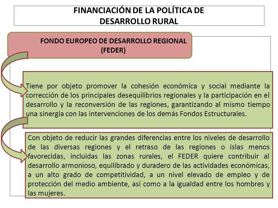FINANCIACIÓN DE LA POLÍTICA DE DESARROLLO RURAL FONDO EUROPEO DE DESARROLLO REGIONAL (FEDER) Tiene por objeto promover la cohesión económica y social