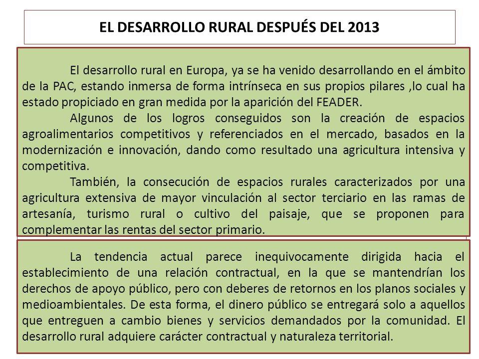 EL DESARROLLO RURAL DESPUÉS DEL 2013 El desarrollo rural en Europa, ya se ha venido desarrollando en el ámbito de la PAC, estando inmersa de forma int