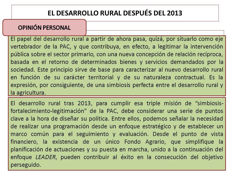 EL DESARROLLO RURAL DESPUÉS DEL 2013 El papel del desarrollo rural a partir de ahora pasa, quizá, por situarlo como eje vertebrador de la PAC, y que c