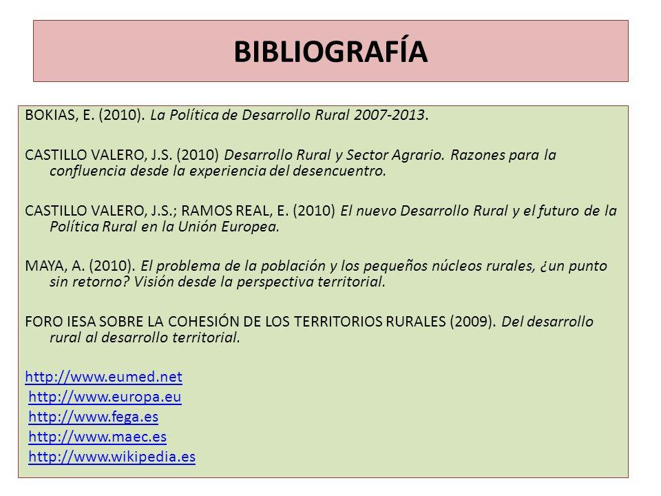 BIBLIOGRAFÍA BOKIAS, E. (2010). La Política de Desarrollo Rural 2007-2013. CASTILLO VALERO, J.S. (2010) Desarrollo Rural y Sector Agrario. Razones par