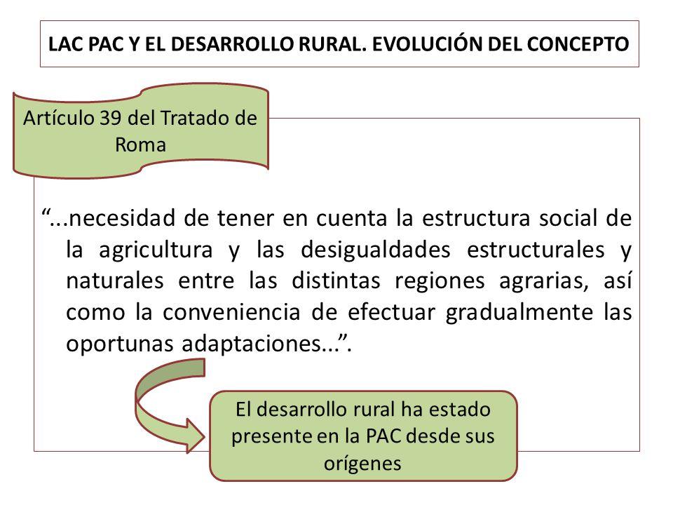 LAC PAC Y EL DESARROLLO RURAL. EVOLUCIÓN DEL CONCEPTO...necesidad de tener en cuenta la estructura social de la agricultura y las desigualdades estruc