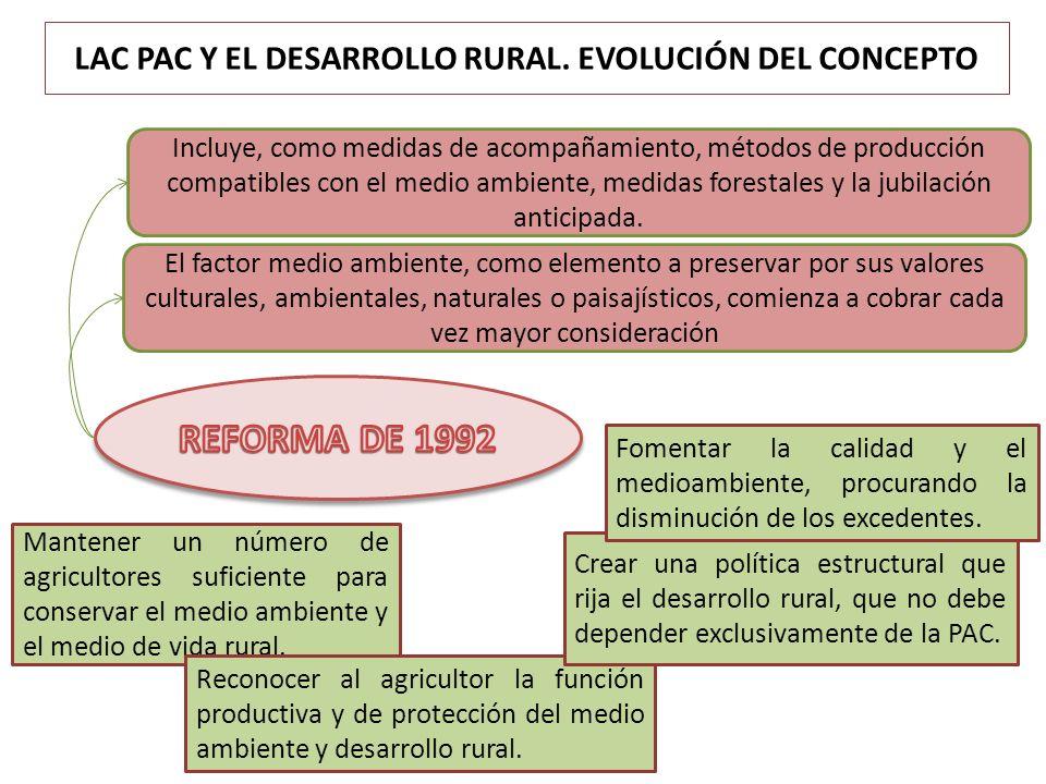 LAC PAC Y EL DESARROLLO RURAL. EVOLUCIÓN DEL CONCEPTO Mantener un número de agricultores suficiente para conservar el medio ambiente y el medio de vid