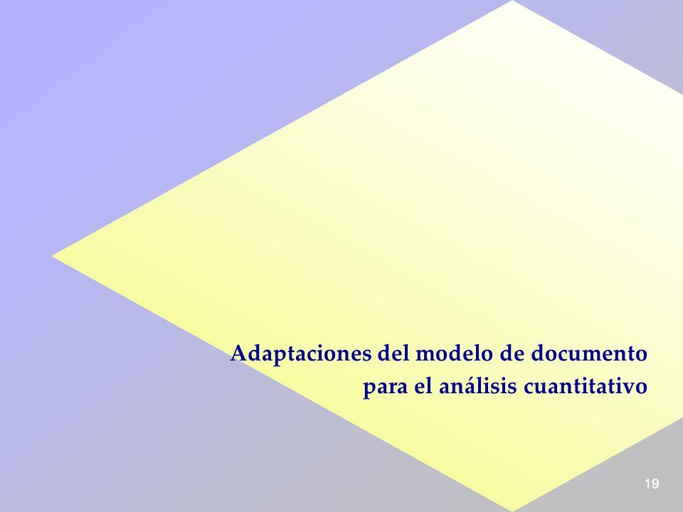 19 Adaptaciones del modelo de documento para el análisis cuantitativo