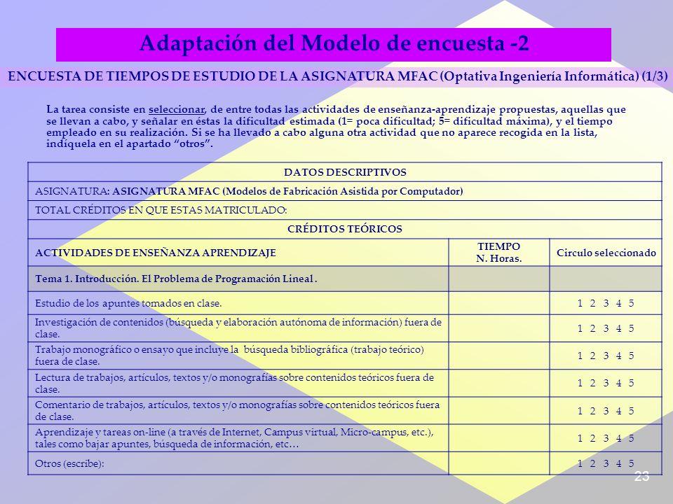 23 Adaptación del Modelo de encuesta -2 DATOS DESCRIPTIVOS ASIGNATURA: ASIGNATURA MFAC (Modelos de Fabricación Asistida por Computador) TOTAL CRÉDITOS EN QUE ESTAS MATRICULADO: CRÉDITOS TEÓRICOS ACTIVIDADES DE ENSEÑANZA APRENDIZAJE TIEMPO N.