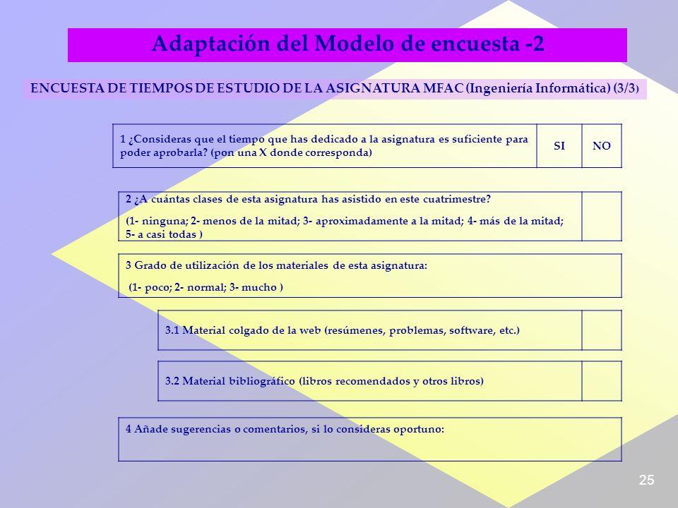 25 Adaptación del Modelo de encuesta -2 ENCUESTA DE TIEMPOS DE ESTUDIO DE LA ASIGNATURA MFAC (Ingeniería Informática) (3/3 ) 1 ¿Consideras que el tiempo que has dedicado a la asignatura es suficiente para poder aprobarla.