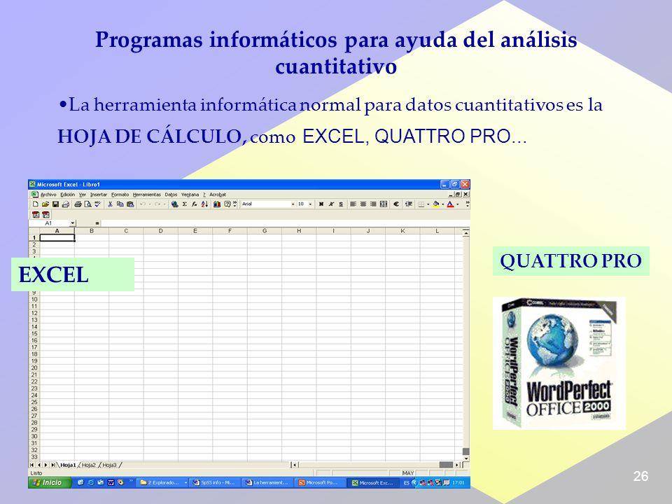 26 Programas informáticos para ayuda del análisis cuantitativo La herramienta informática normal para datos cuantitativos es la HOJA DE CÁLCULO, como EXCEL, QUATTRO PRO...
