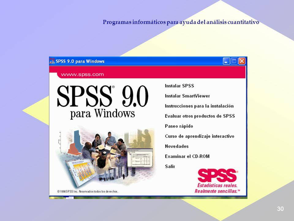 30 Programas informáticos para ayuda del análisis cuantitativo