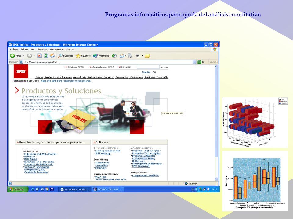 32 Programas informáticos para ayuda del análisis cuantitativo