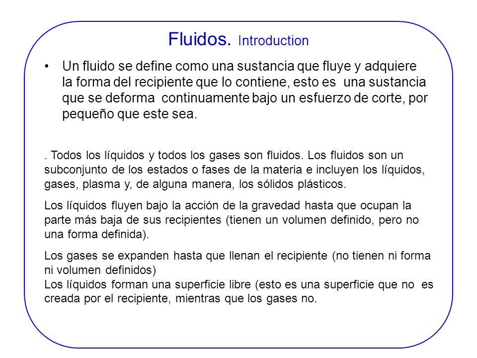 FLUIDOS INTRODUCCIÓN Un fluido se define como una sustancia que fluye y adquiere la forma del recipiente que lo contiene, esto es una sustancia que se
