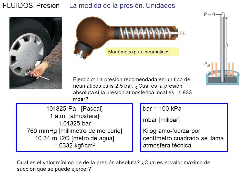 FLUIDOS. Presión La medida de la presión Podemos usar el hecho de que la diferencia de presiones es proporcional a la profundidad del líquido para la