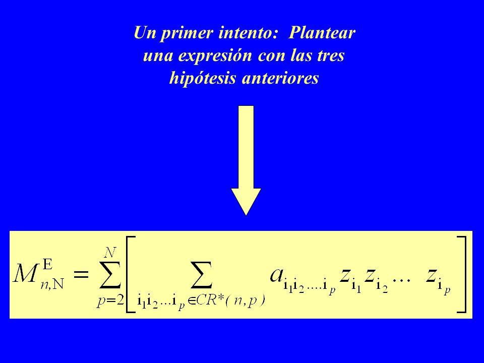 Un primer intento: Plantear una expresión con las tres hipótesis anteriores