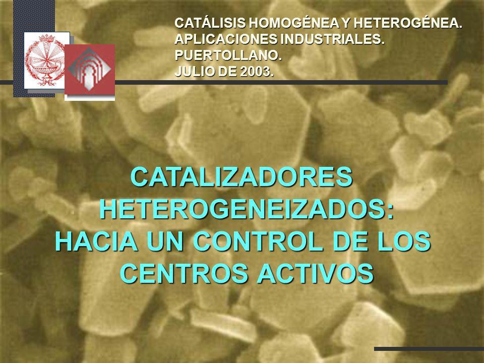 CATALIZADORESHETEROGENEIZADOS: HACIA UN CONTROL DE LOS CENTROS ACTIVOS CATÁLISIS HOMOGÉNEA Y HETEROGÉNEA. APLICACIONES INDUSTRIALES. PUERTOLLANO. JULI