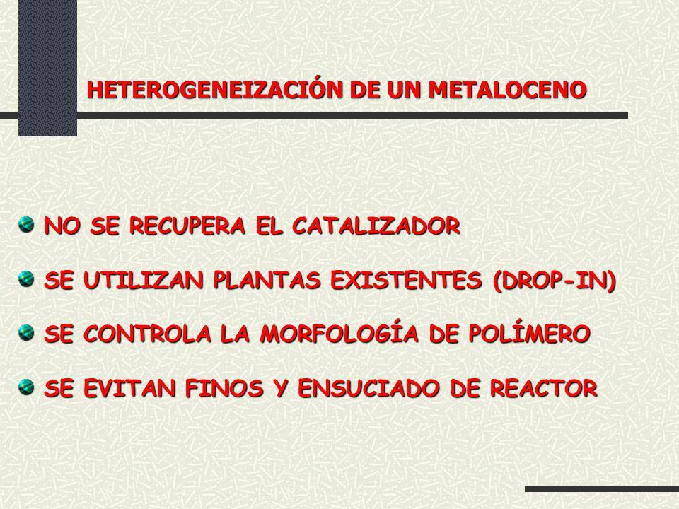 HETEROGENEIZACIÓN DE UN METALOCENO HETEROGENEIZACIÓN DE UN METALOCENO NO SE RECUPERA EL CATALIZADOR NO SE RECUPERA EL CATALIZADOR SE UTILIZAN PLANTAS