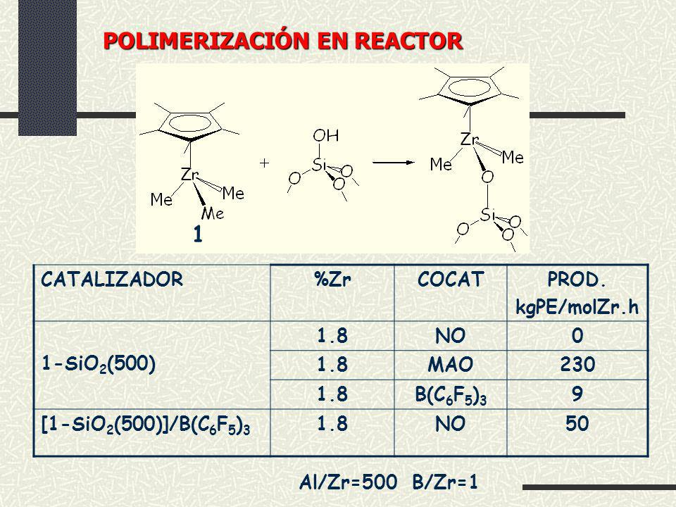 CATALIZADOR%ZrCOCATPROD. kgPE/molZr.h 1-SiO 2 (500) 1.8NO0 1.8MAO230 1.8B(C 6 F 5 ) 3 9 [1-SiO 2 (500)]/B(C 6 F 5 ) 3 1.8NO50 1 Al/Zr=500 B/Zr=1 POLIM