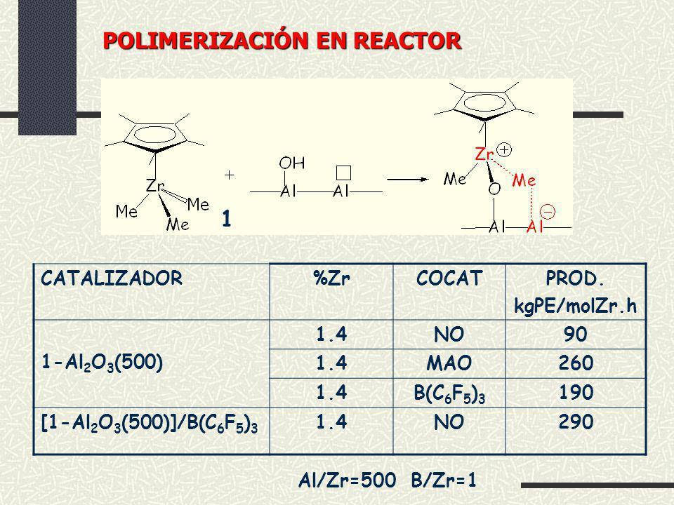 1 CATALIZADOR%ZrCOCATPROD. kgPE/molZr.h 1-Al 2 O 3 (500) 1.4NO90 1.4MAO260 1.4B(C 6 F 5 ) 3 190 [1-Al 2 O 3 (500)]/B(C 6 F 5 ) 3 1.4NO290 Al/Zr=500 B/
