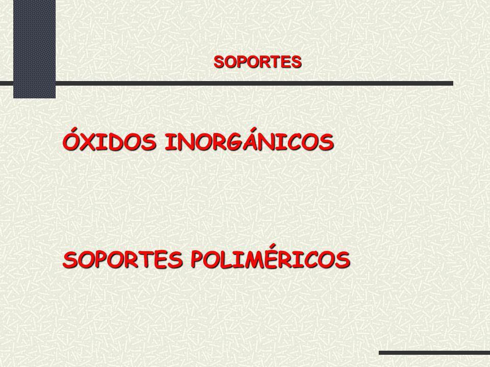 SOPORTES ÓXIDOS INORGÁNICOS SOPORTES POLIMÉRICOS