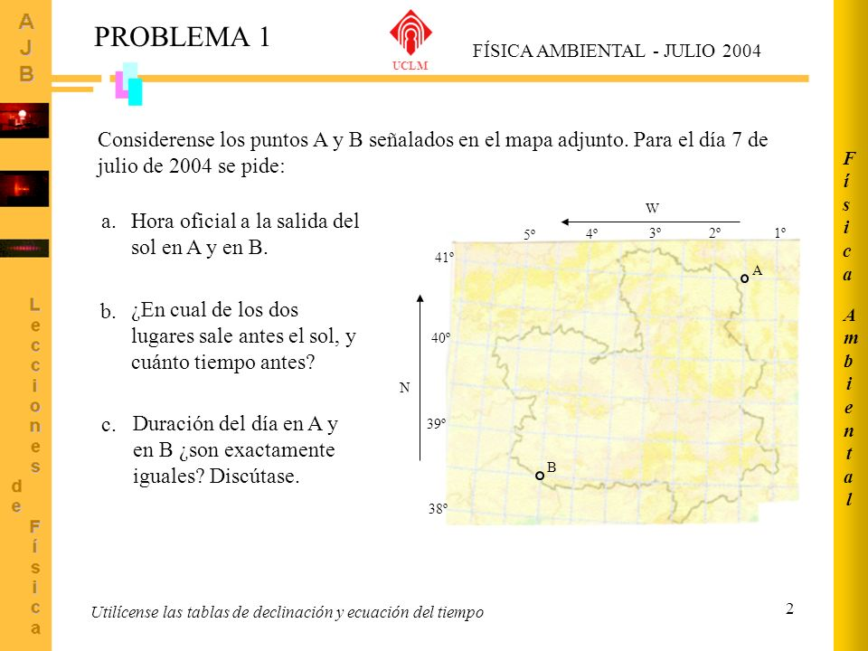 3 1º2º 3º 4º 5º W 38º 39º 40º 41º N A B Coordenadas leídas sobre mapa: Punto A: 41º N 1,5º W Punto B: 38,5º N 4,5º W Tablas y/o fórmulas de Spencer 7 julio 2004 (bisiesto) J = 189 Ángulo declinación = 22,58º Ecuación del tiempo: E t = -4,77 minutos Meridiano de referencia cálculos posteriores: L s = 0º PROBLEMA 1 FÍSICA AMBIENTAL - JULIO 2004 UCLM 1/4 AmbientalAmbiental FísicaFísica