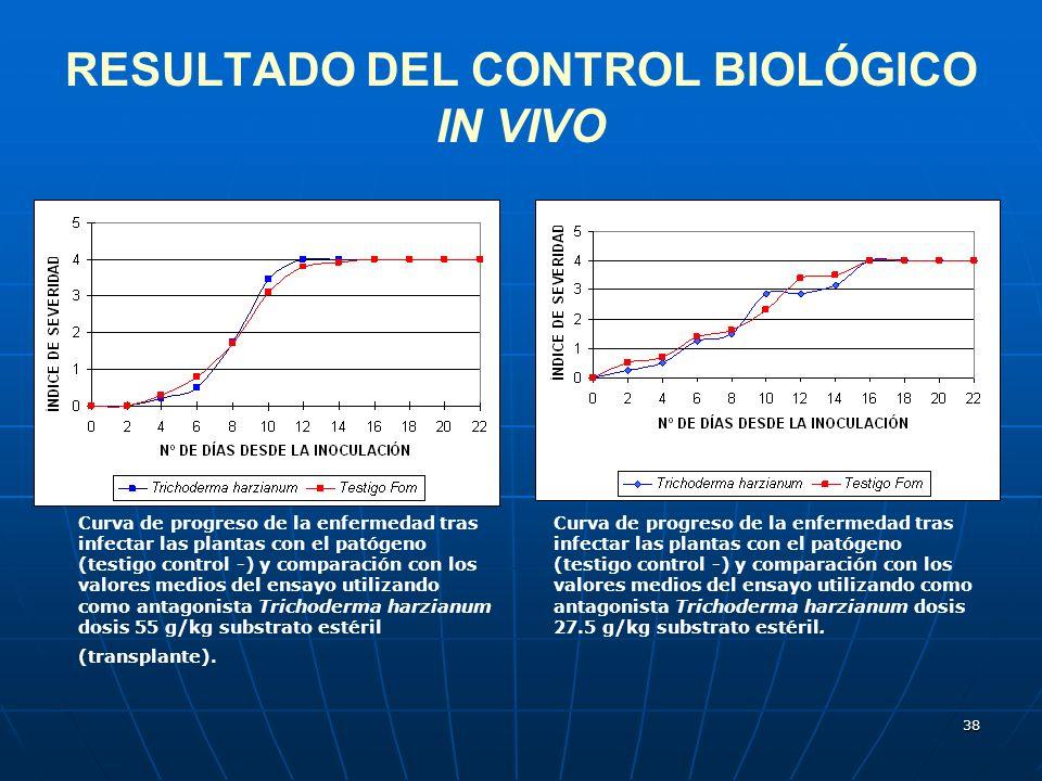 38 RESULTADO DEL CONTROL BIOLÓGICO IN VIVO Curva de progreso de la enfermedad tras infectar las plantas con el patógeno (testigo control -) y comparac