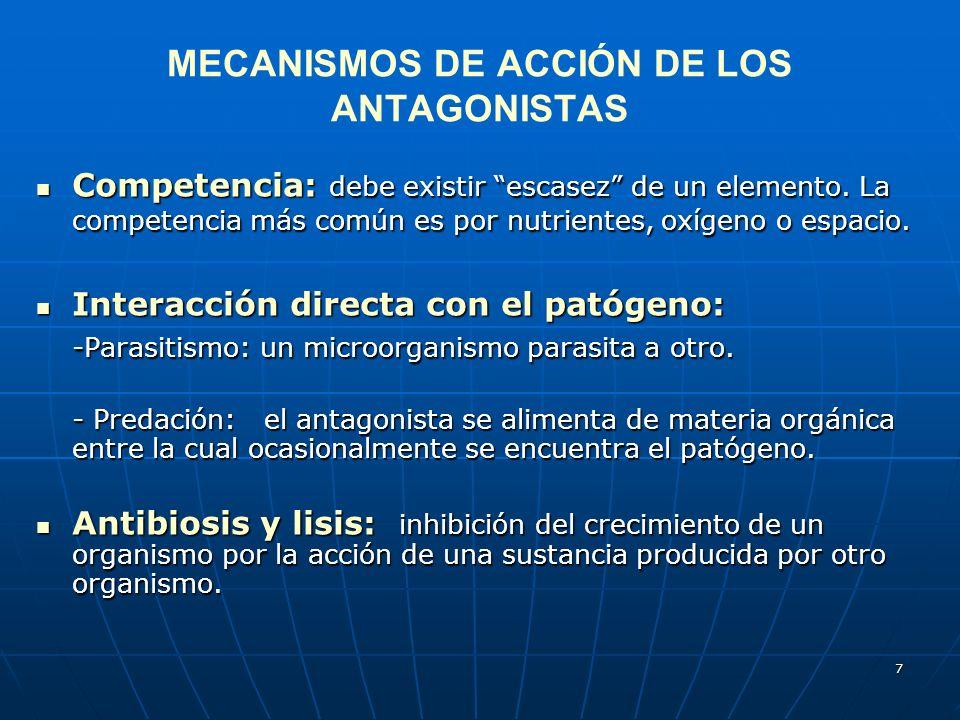 7 MECANISMOS DE ACCIÓN DE LOS ANTAGONISTAS Competencia: debe existir escasez de un elemento. La competencia más común es por nutrientes, oxígeno o esp