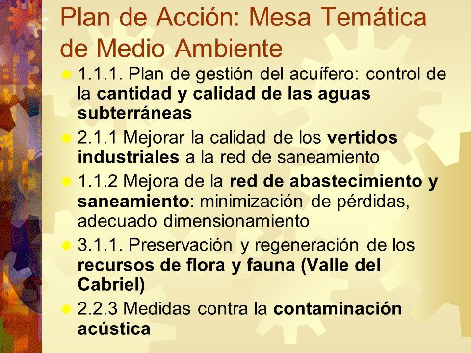 Plan de Acción: Mesa Temática de Medio Ambiente 1.1.1. Plan de gestión del acuífero: control de la cantidad y calidad de las aguas subterráneas 2.1.1