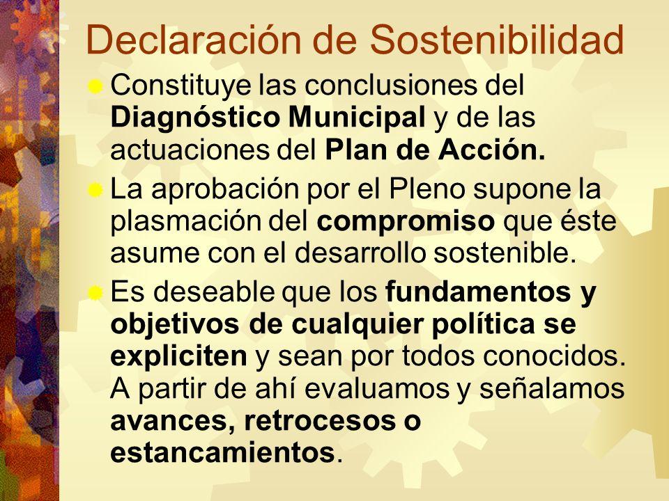 Declaración de Sostenibilidad Constituye las conclusiones del Diagnóstico Municipal y de las actuaciones del Plan de Acción. La aprobación por el Plen