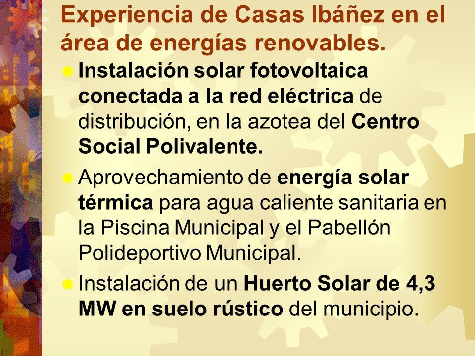 Experiencia de Casas Ibáñez en el área de energías renovables. Instalación solar fotovoltaica conectada a la red eléctrica de distribución, en la azot