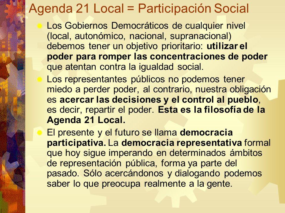 Agenda 21 Local = Participación Social Los Gobiernos Democráticos de cualquier nivel (local, autonómico, nacional, supranacional) debemos tener un obj