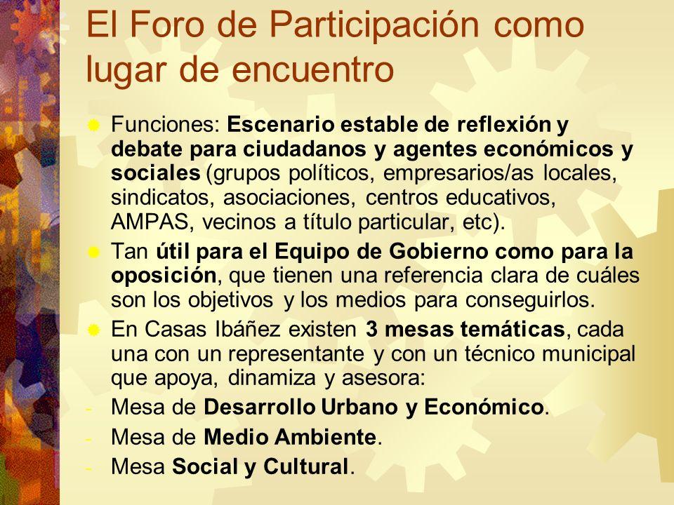 El Foro de Participación como lugar de encuentro Funciones: Escenario estable de reflexión y debate para ciudadanos y agentes económicos y sociales (g