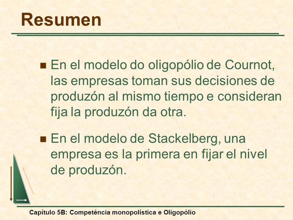 Capítulo 5B: Competéncia monopolística e Oligopólio Resumen En el modelo do oligopólio de Cournot, las empresas toman sus decisiones de produzón al mi