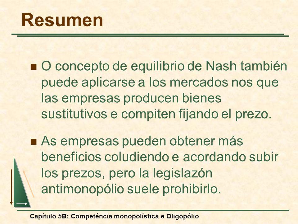 Capítulo 5B: Competéncia monopolística e Oligopólio Resumen O concepto de equilibrio de Nash también puede aplicarse a los mercados nos que las empres