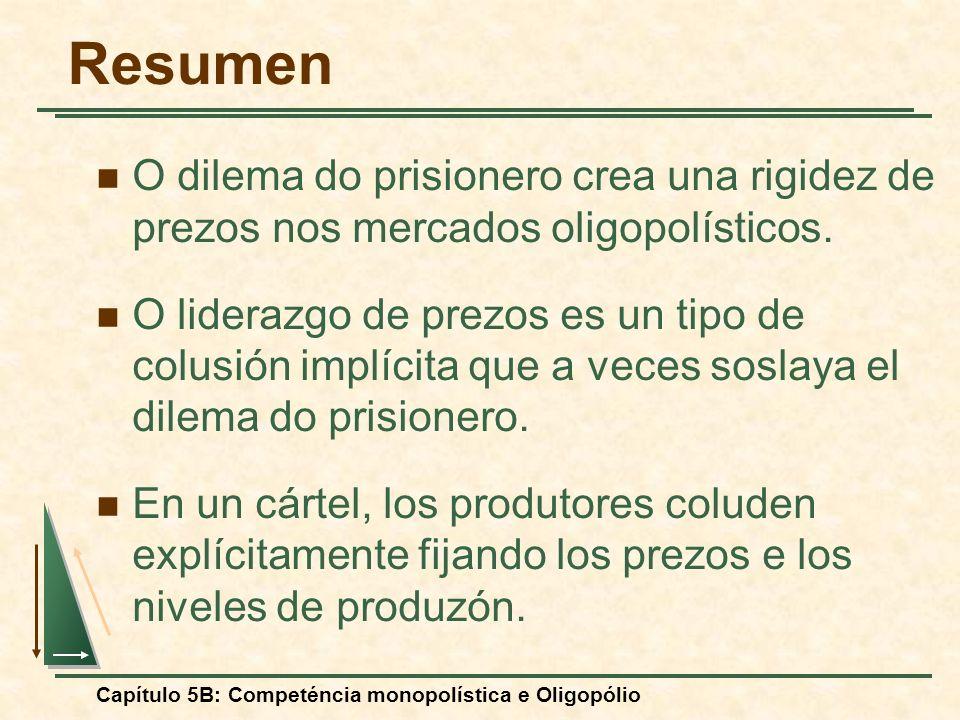 Capítulo 5B: Competéncia monopolística e Oligopólio Resumen O dilema do prisionero crea una rigidez de prezos nos mercados oligopolísticos. O liderazg