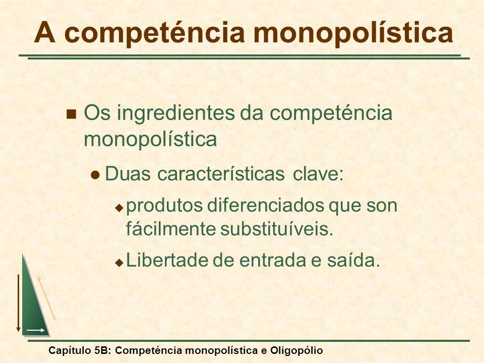 Capítulo 5B: Competéncia monopolística e Oligopólio Os ingredientes da competéncia monopolística Duas características clave: produtos diferenciados qu