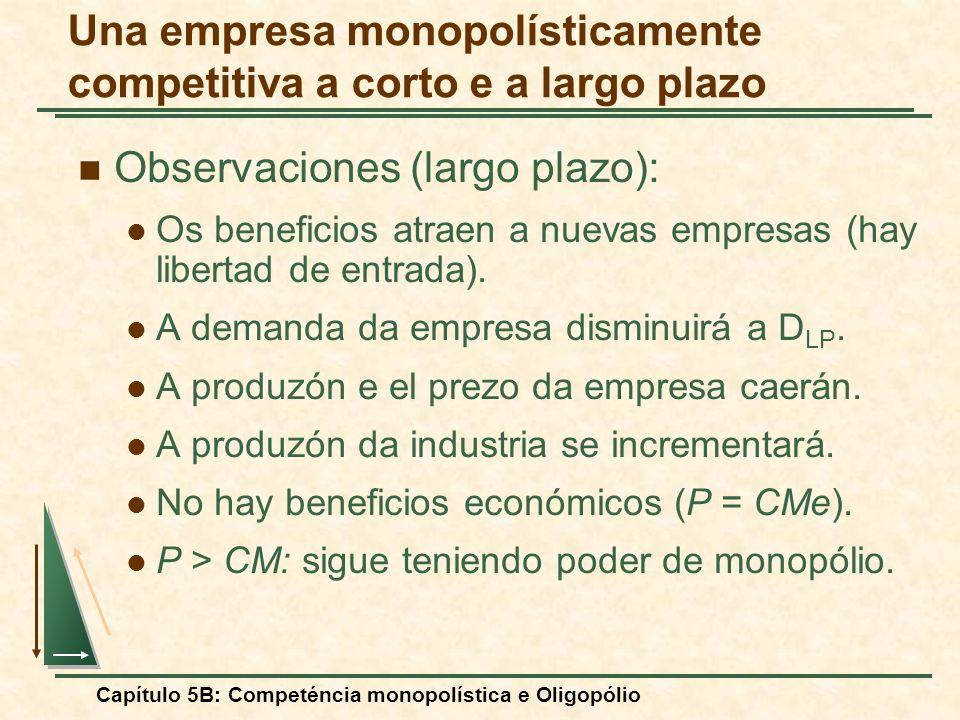 Capítulo 5B: Competéncia monopolística e Oligopólio Observaciones (largo plazo): Os beneficios atraen a nuevas empresas (hay libertad de entrada). A d
