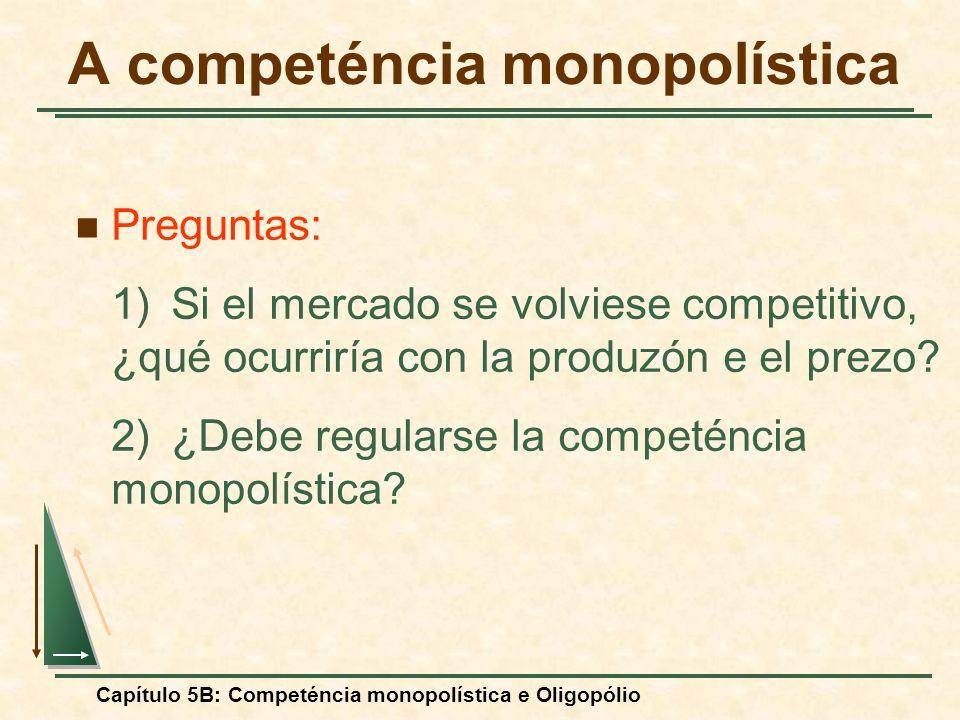 Capítulo 5B: Competéncia monopolística e Oligopólio Preguntas: 1)Si el mercado se volviese competitivo, ¿qué ocurriría con la produzón e el prezo? 2)¿