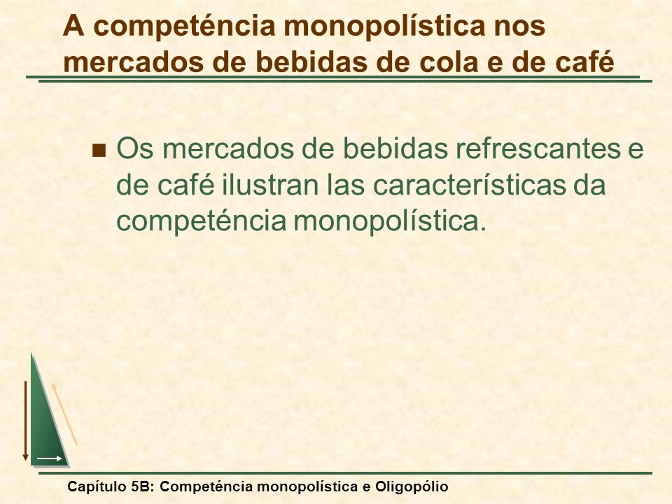 Capítulo 5B: Competéncia monopolística e Oligopólio A competéncia monopolística nos mercados de bebidas de cola e de café Os mercados de bebidas refre