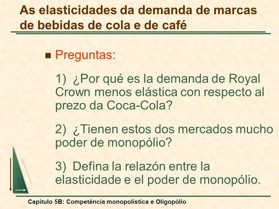 Capítulo 5B: Competéncia monopolística e Oligopólio Preguntas: 1)¿Por qué es la demanda de Royal Crown menos elástica con respecto al prezo da Coca-Co