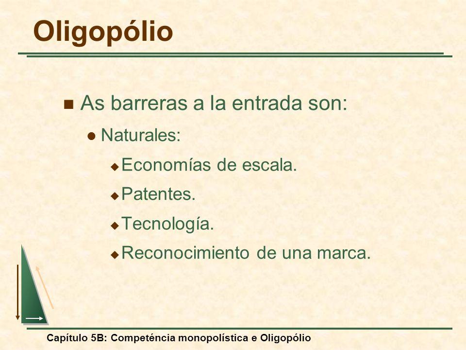 Capítulo 5B: Competéncia monopolística e Oligopólio As barreras a la entrada son: Naturales: Economías de escala. Patentes. Tecnología. Reconocimiento