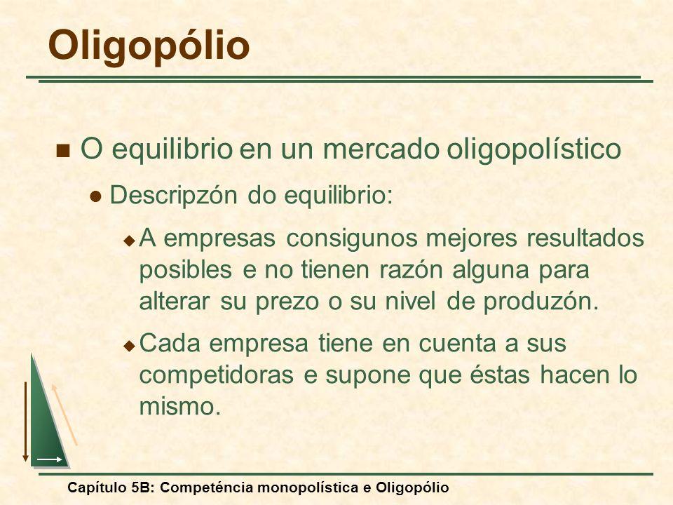 Capítulo 5B: Competéncia monopolística e Oligopólio O equilibrio en un mercado oligopolístico Descripzón do equilibrio: A empresas consigunos mejores