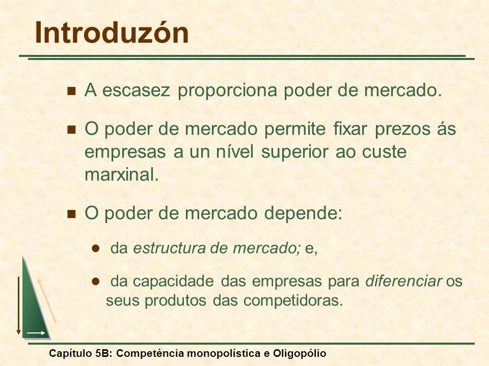Capítulo 5B: Competéncia monopolística e Oligopólio A ventaja do que mueve primero: el modelo de Stackelberg Supuestos: Una empresa puede ser la primera en fijar su nivel de produzón.